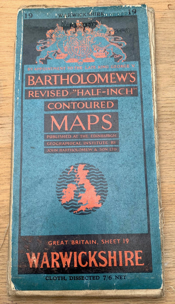 1940s Bartholomew's Map of Warwickshire - Birmingham, Rugby, Leamington Spa etc