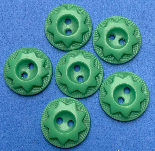 6 Vintage Pea Green Star 2.2cm, 2cm or 1.5cm Buttons