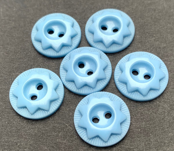 6 Baby Blue Vintage Star Buttons - 1.5cm