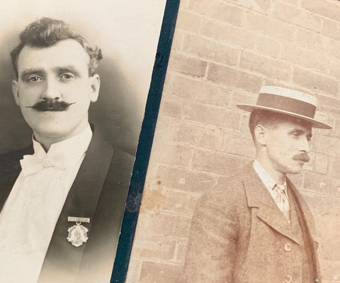 2 Edwardian Photographs of, principally, Wonderful Moustaches. (5)