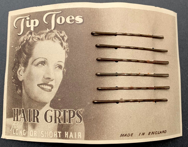 Tip Toes 1940s HAIR GRIPS  for Long or Short Hair  Made in England