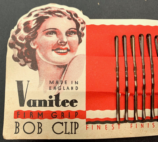 "Happy 1940s ""Vanitee"" BOB CLIP FIRM GRIPS  Made in England"