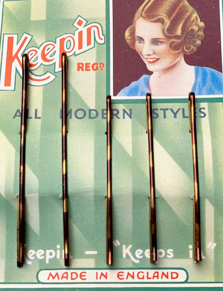 "1930s ""Keepin"" HAIR GRIPS..for ""ALL MODERN STYLES"" 2 different length grips"