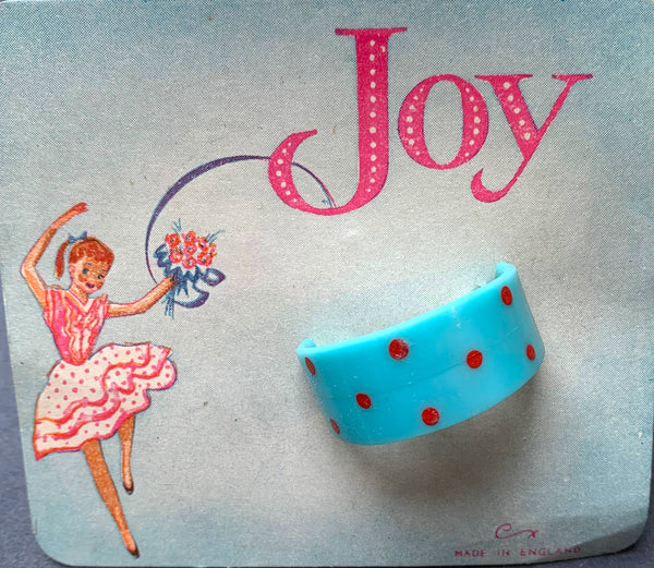 1950s JOY Made in England Spotty Pony Tail Holders / Hair Clips.