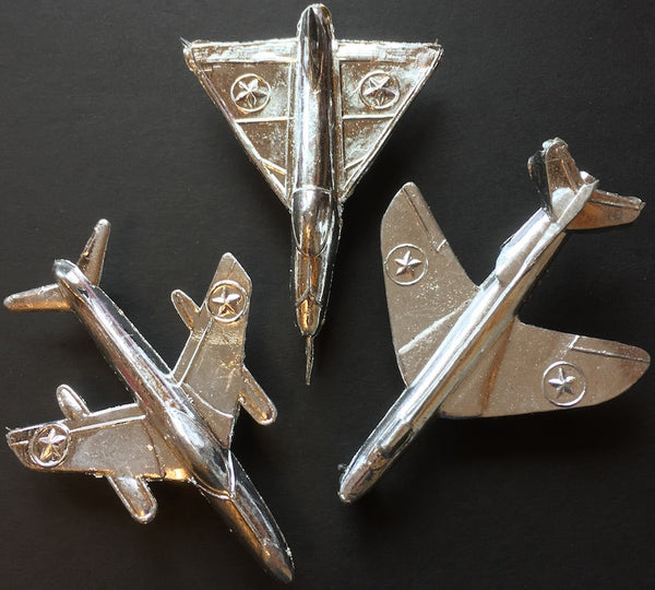 3 Vintage Silver Jet Planes Made in Hong Kong