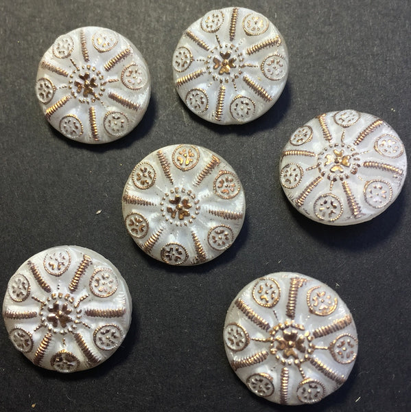 6 Twinkly Vintage White and Gold Glass Buttons - 1.5 or 2cm