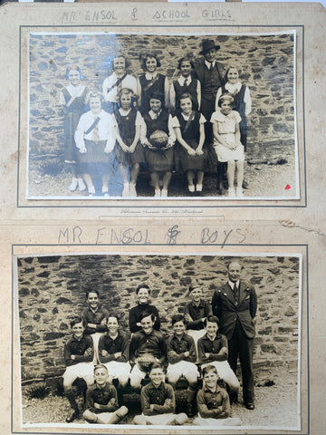 Two 1938 School Photos Mr ENSOL with the Girls and Mr ENSOL with the Boys, HUCCOMBE DEVON
