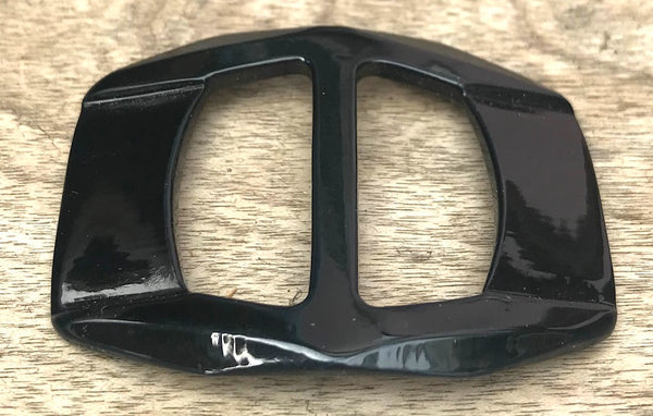 Cosmopolitan Black Vintage Casein 4.4cm Belt Buckle - Unused Old Shop Stock