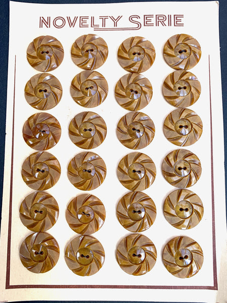 Shiny Caramel 1930s Casein Buttons -2.2cm - 6 or 24
