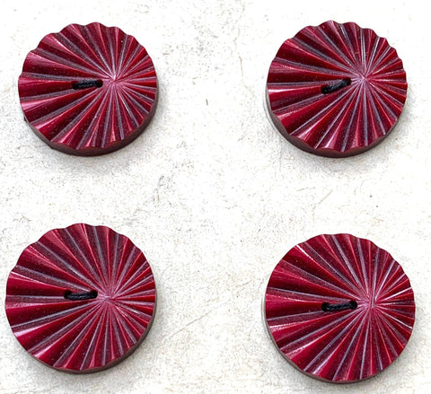 8 Ruby coloured Vintage French 1.5cm  or 2cm Buttons
