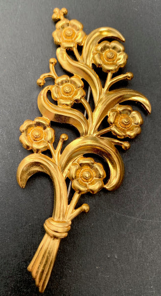 Big Vintage Gold Flourish of Flowers - Exuberant 1940s Brooch