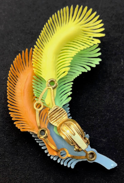 Extraordinarily Wonderful Vintage Clip-On Feather Earrings