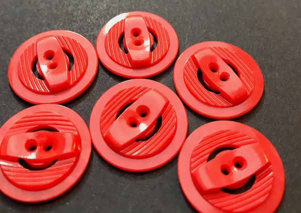 6 Jolly Red Vintage Casein 2.2cm Buttons
