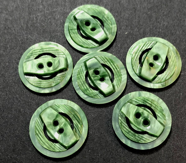 6 Glowing Forest Green Vintage Casein 1.7cm Buttons