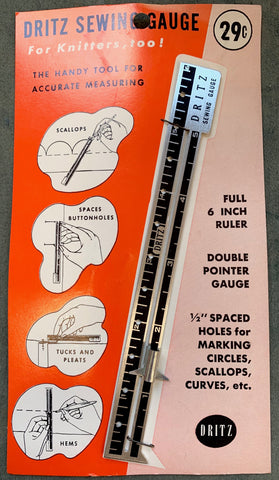 Essential 1950s Sewing & Knitting Gauge for Accurate Measuring of Hems, Pleats, Buttonholes etc