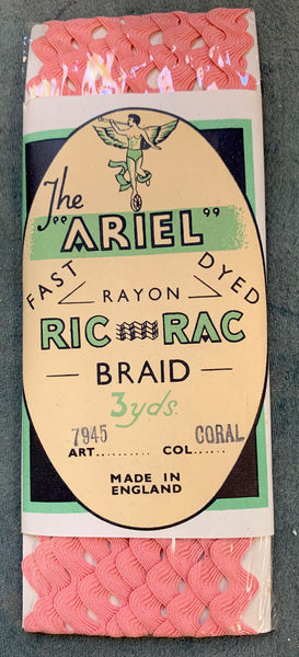 Lovely Vintage Packets of ARIEL RIC RAC Braid 3yds long 5mm wide.