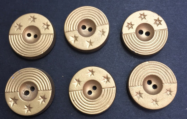 6 Vintage Italian Gold Star Buttons 2cm or 1.6cm wide