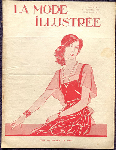 Charming Cover on October 1931 French Fashion Paper La Mode Illustree