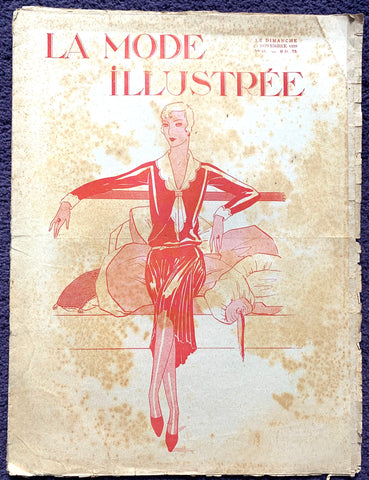 November 1928 French Fashion Paper La Mode Illustree