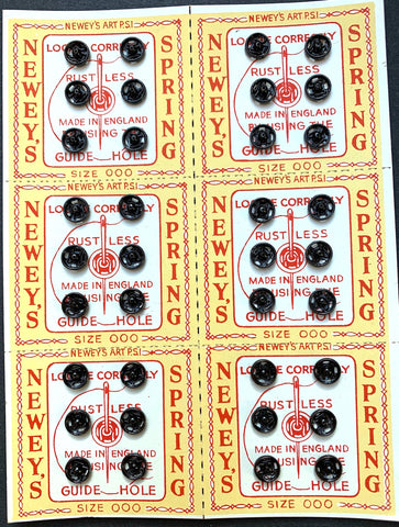 36 size 000 5mm Black PRESS STUDS / SNAP FASTENERS on lovely Vintage Display card