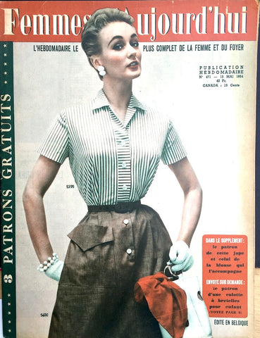 May 1954 French Fashion Magazine Femmes Aujourd'hui ..LOTS of Fashion Illustrations