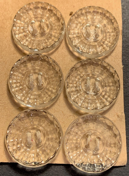 6 Glittering Vintage 1930s French Glass 1.8cm  Buttons