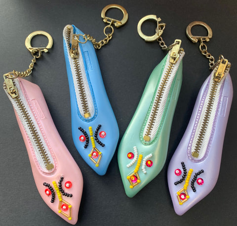 1960s Shoe Purse Keyrings ..for carrying around Very Small Things.
