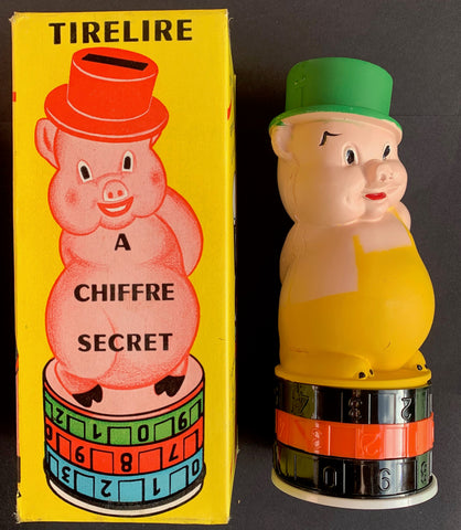 Vintage French Pig Money Box with Combination Code - Completely Secure Hiding Place for all your Spare Money