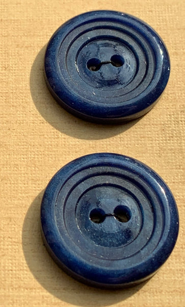 24 Carved Vintage Prussian Blue 1.7cm Buttons