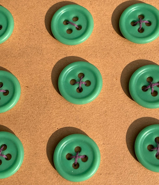 24 Fresh Simple Green 1.5cm Vintage Buttons