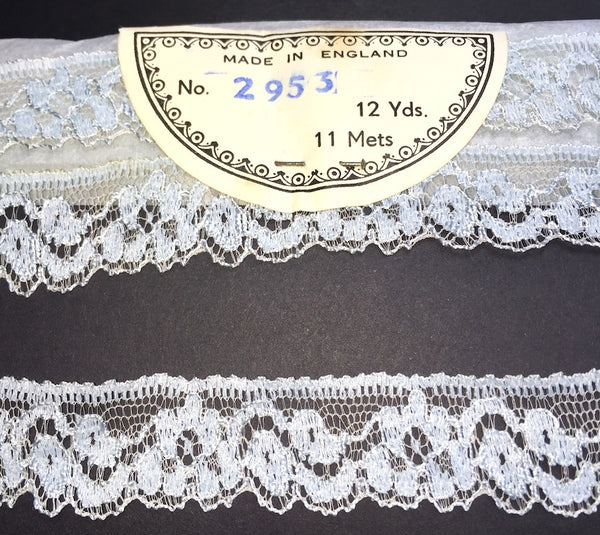 12 Yards Delicate Pale Blue Vintage Lace Trim 2cm Wide Made in England