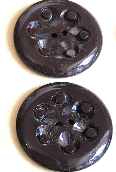Dark Brown Casein 2.2cm or 1.7cm Vintage French Buttons