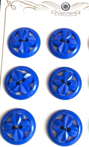 6 Bright Blue 2.7cm Flowers in Circles Vintage French Buttons
