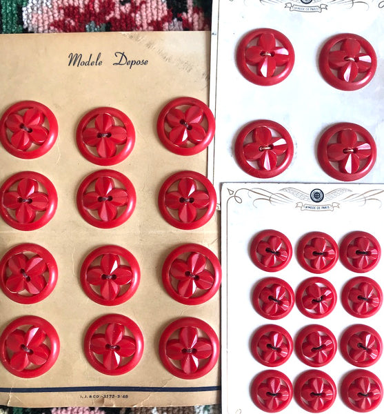 Big Red Flowers in Big Red Circles- Vintage Buttons 1.5cm, 1.7cm or 2.7cm
