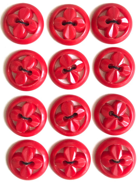 Red 1940s WW2 Propeller Shaped Buttons 1.5cm, 1.7cm or 2.8cm