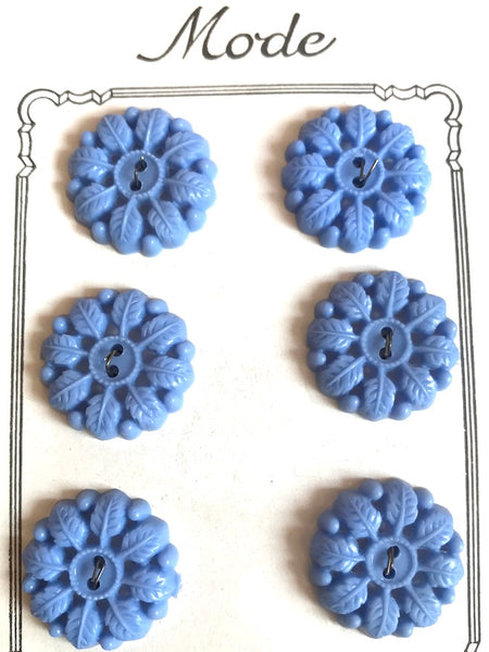 Powder Blue Leafy Garland Vintage 2.2cm Buttons - 6 on Original Shop Card