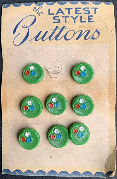 8 Pretty Vintage Glass Flower 1.4cm Buttons