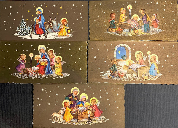 Unused Pack of 10 Wonderfully 1970s Christmas Cards