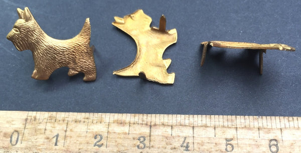 6 1950s Metal SCOTTIE DOG Pins for decorating Belts, Bags, Boots etc