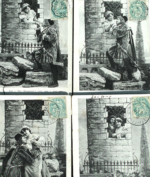 4 French Postcards from 1905 showing a Romantic Story   (4)