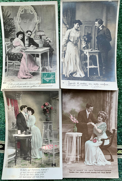 4 Romantic French Postcards circa 1904  (5)