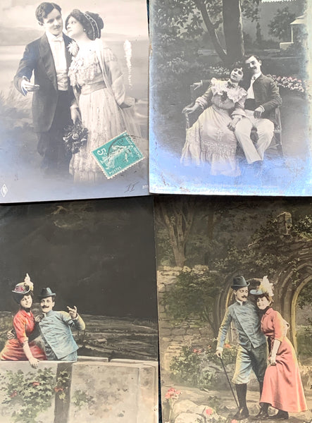 4 Romantic Moonlit French Postcards from 1907  (7)