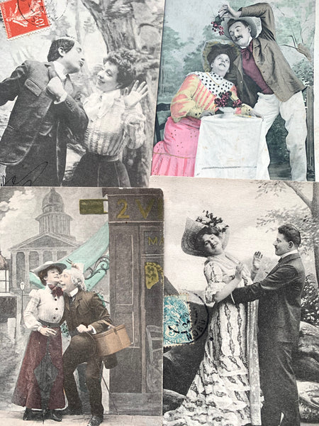 Couples Having Fun on 4 French Postcards circa 1905  (10)