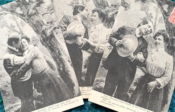 Courting Couple on 3 French Postcards from 1907  (12)