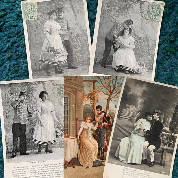 Military Romance on 5 French Postcards circa 1905  (13)