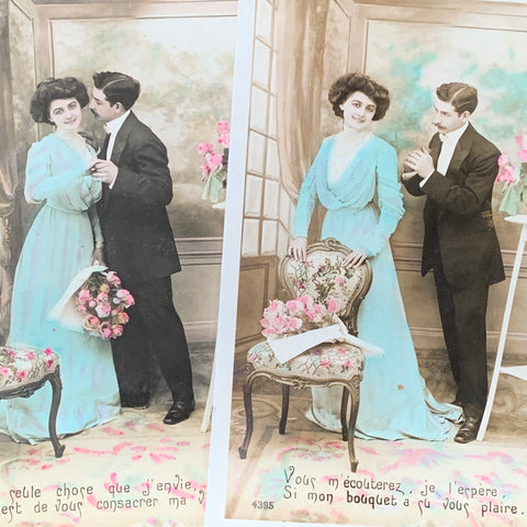 Successful Courtship on 2 French Postcards from 1910  (14)
