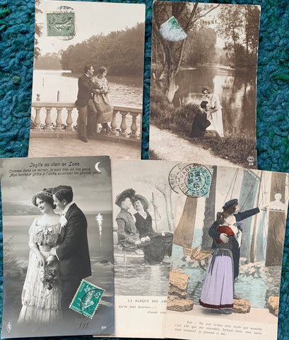 Romantic Waterside Dalliances on 5 French Postcards circa 1904  (15)