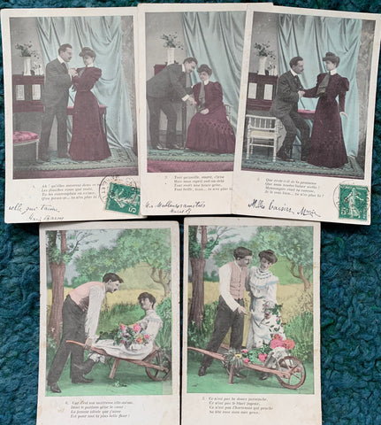 5 old French Postcards circa 1908  (17)