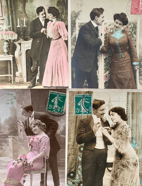 4 French Postcards of a Progressing Courtship... circa 1907   (30)