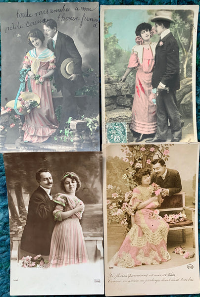 Ladies in Pink on 4  French Postcards circa 1911   (33)